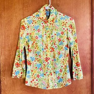 Anthropologie Odille yellow floral 3/4 slv blouse